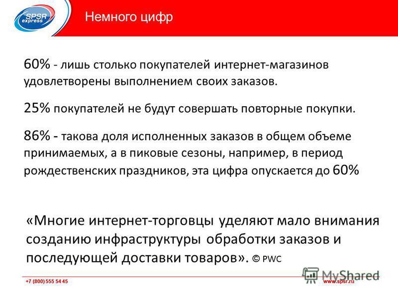 +7 (800) 555 54 45 www.spsr.ru Немного цифр 60% - лишь столько покупателей интернет-магазинов удовлетворены выполнением своих заказов. 25% покупателей не будут совершать повторные покупки. 86% - такова доля исполненных заказов в общем объеме принимае