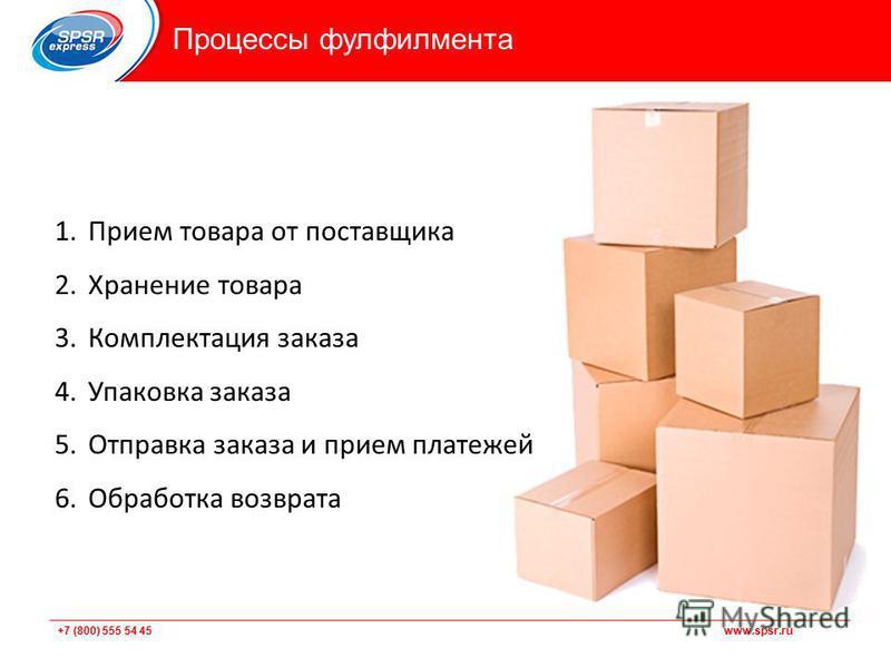 +7 (800) 555 54 45 www.spsr.ru 1. Прием товара от поставщика 2. Хранение товара 3. Комплектация заказа 4. Упаковка заказа 5. Отправка заказа и прием платежей 6. Обработка возврата Процессы фулфилмента