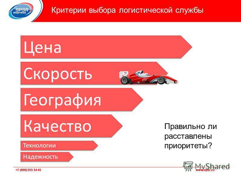 +7 (800) 555 54 45 www.spsr.ru Критерии выбора логистической службы Цена Скорость География Качество Правильно ли расставлены приоритеты? Технологии Надежность