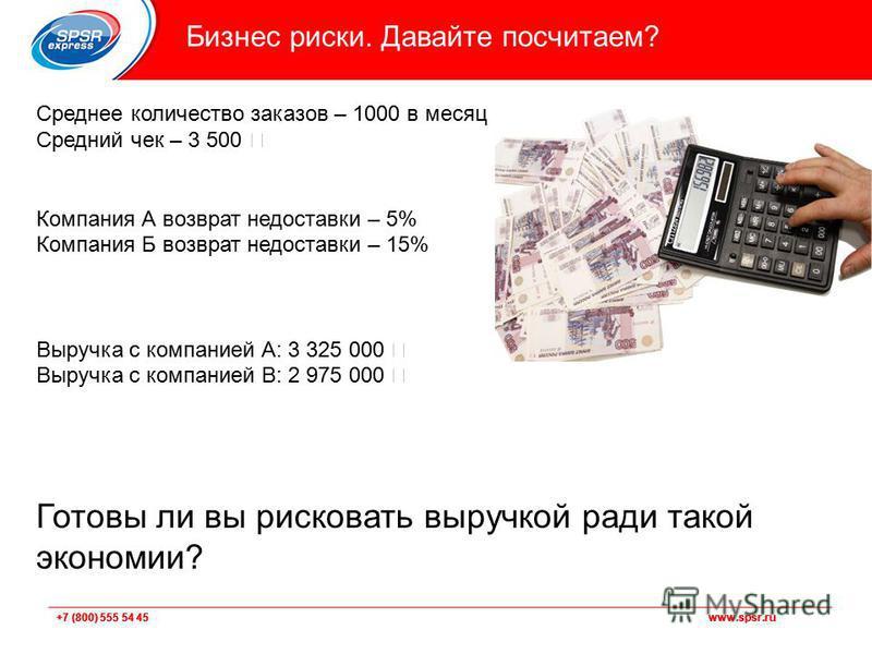+7 (800) 555 54 45 www.spsr.ru Бизнес риски. Давайте посчитаем? Среднее количество заказов – 1000 в месяц Средний чек – 3 500 Компания А возврат недоставки – 5% Компания Б возврат недоставки – 15% Выручка с компанией А: 3 325 000 Выручка с компанией