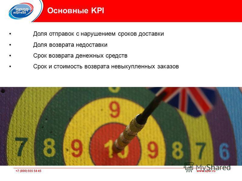 +7 (800) 555 54 45 www.spsr.ru Основные KPI Доля отправок с нарушением сроков доставки Доля возврата недоставки Срок возврата денежных средств Срок и стоимость возврата невыкупленных заказов