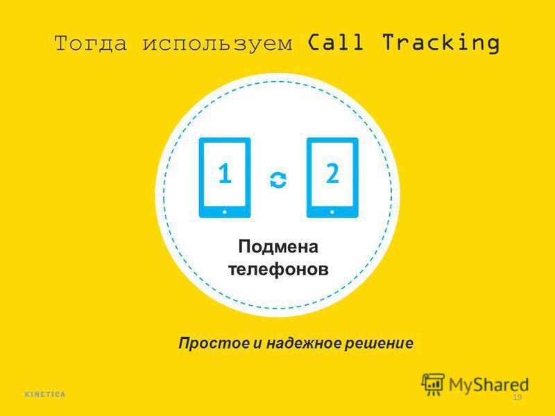 19 Тогда используем Call Tracking Подмена телефонов Простое и надежное решение