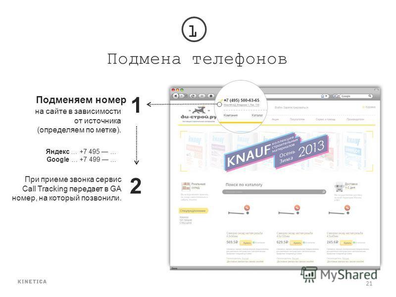 21 Подмена телефонов Подменяем номер 1 на сайте в зависимости от источника (определяем по метке). 2 1 При приеме звонка сервис Call Tracking передает в GA номер, на который позвонили. Яндекс … +7 495 … Google … +7 499 …