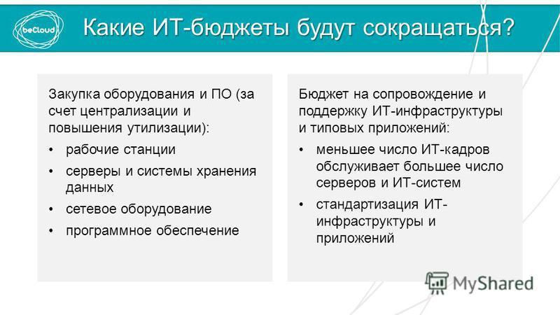 Какие ИТ-бюджеты будут сокращаться? Закупка оборудования и ПО (за счет централизации и повышения утилизации): рабочие станции серверы и системы хранения данных сетевое оборудование программное обеспечение Бюджет на сопровождение и поддержку ИТ-инфрас