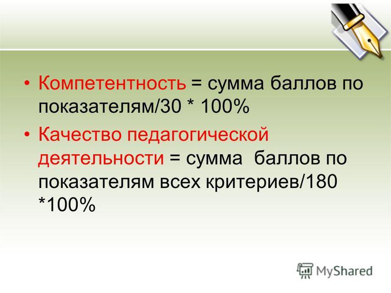 Компетентность = сумма баллов по показателям/30 * 100% Качество педагогической деятельности = сумма баллов по показателям всех критериев/180 *100%