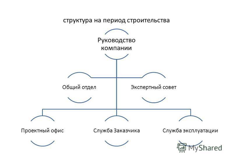 структура на период строительства Руководство компании Проектный офис Служба Заказчика Служба эксплуатации Общий отдел Экспертный совет