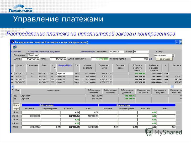 Управление платежами Распределение платежа на исполнителей заказа и контрагентов