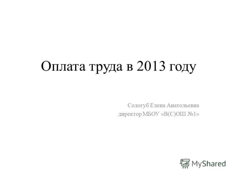 Оплата труда в 2013 году Сологуб Елена Анатольевна директор МБОУ «В(С)ОШ 1»