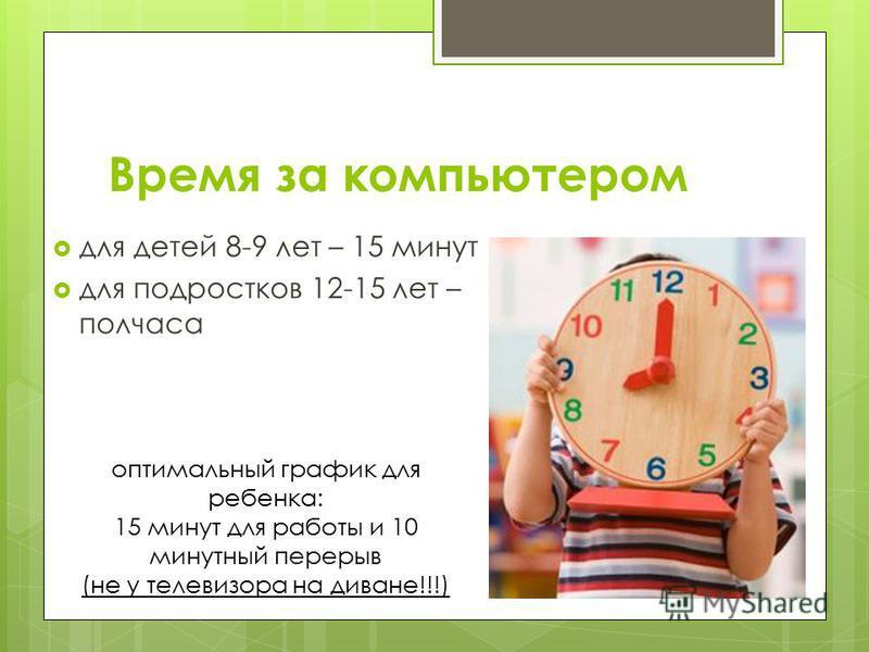 Время за компьютером для детей 8-9 лет – 15 минут для подростков 12-15 лет – полчаса оптимальный график для ребенка: 15 минут для работы и 10 минутный перерыв (не у телевизора на диване!!!)