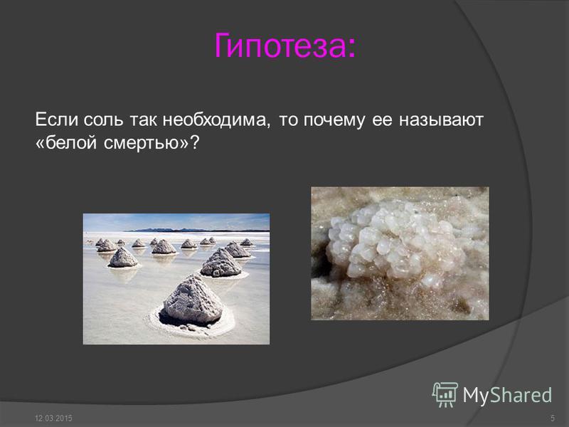 Гипотеза: Если соль так необходима, то почему ее называют «белой смертью»? 512.03.2015