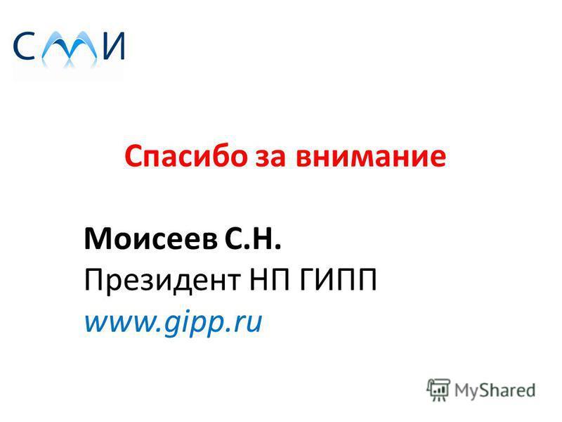 Спасибо за внимание Моисеев С.Н. Президент НП ГИПП www.gipp.ru
