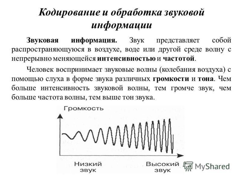 Кодирование и обработка звуковой информации Звуковая информация. Звук представляет собой распространяющуюся в воздухе, воде или другой среде волну с непрерывно меняющейся интенсивностью и частотой. Человек воспринимает звуковые волны (колебания возду