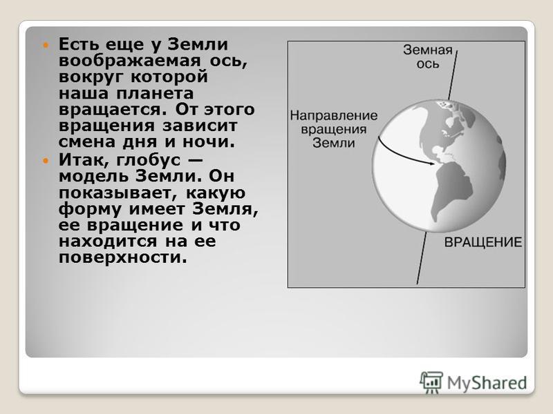 Есть еще у Земли воображаемая ось, вокруг которой наша планета вращается. От этого вращения зависит смена дня и ночи. Итак, глобус модель Земли. Он показывает, какую форму имеет Земля, ее вращение и что находится на ее поверхности.