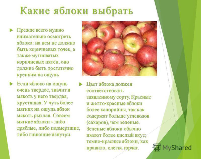 Какие яблоки выбрать Прежде всего нужно внимательно осмотреть яблоко: на нем не должно быть коричневых точек, а также мутноватых коричневых пятен, оно должно быть достаточно крепким на ощупь Прежде всего нужно внимательно осмотреть яблоко: на нем не