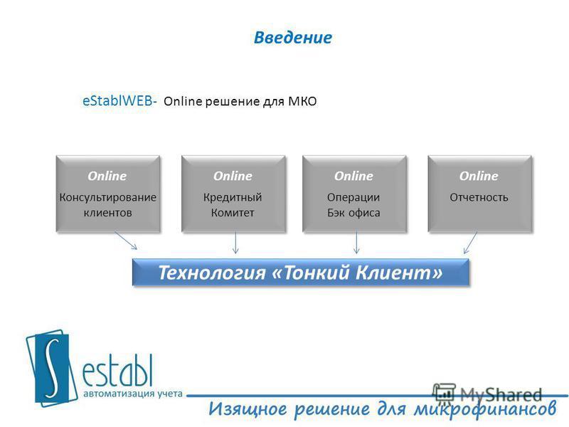 Введение eStablWEB - Online решение для МКО Online Кредитный Комитет Online Консультирование клиентов Online Операции Бэк офиса Online Отчетность Технология «Тонкий Клиент»