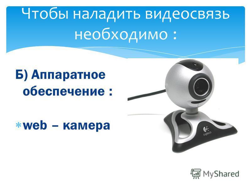 Чтобы наладить видеосвязь необходимо : Б) Аппаратное обеспечение : web – камера