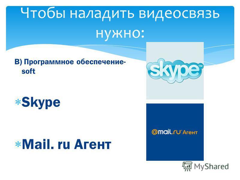 Чтобы наладить видеосвязь нужно: В) Программное обеспечение- soft S kype M ail. ru Агент