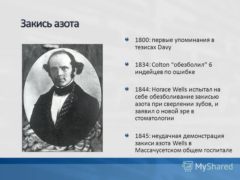 1800: первые упоминания в тезисах Davy 1834: Colton обезболил 6 индейцев по ошибке 1844: Horace Wells испытал на себе обезболивание закисью азота при сверлении зубов, и заявил о новой эре в стоматологии 1845: неудачная демонстрация закиси азота Wells
