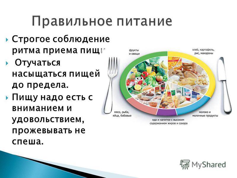Строгое соблюдение ритма приема пищи. Отучаться насыщаться пищей до предела. Пищу надо есть с вниманием и удовольствием, прожевывать не спеша.