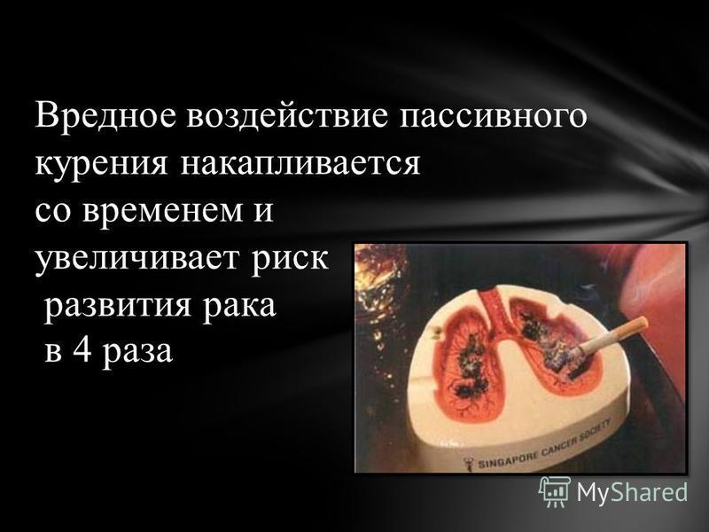 Вредное воздействие пассивного курения накапливается со временем и увеличивает риск развития рака в 4 раза