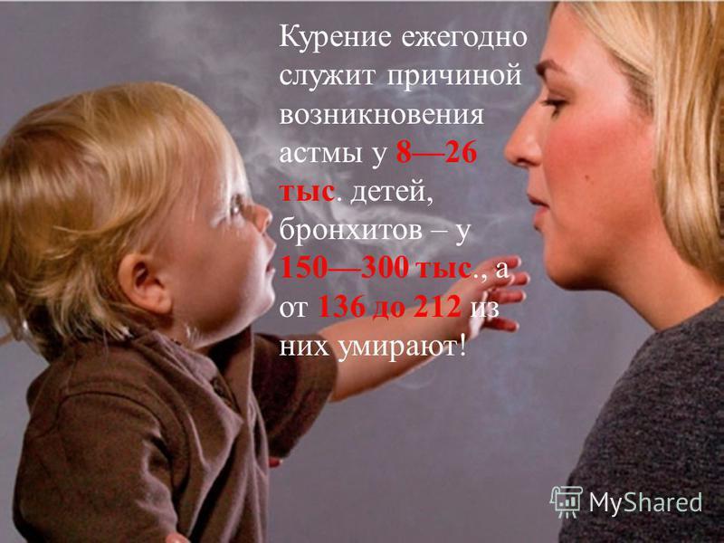 Курение ежегодно служит причиной возникновения астмы у 826 тыс. детей, бронхитов – у 150300 тыс., а от 136 до 212 из них умирают !