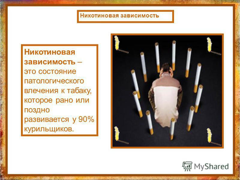 Никотиновая зависимость – это состояние патологического влечения к табаку, которое рано или поздно развивается у 90% курильщиков. Никотиновая зависимость