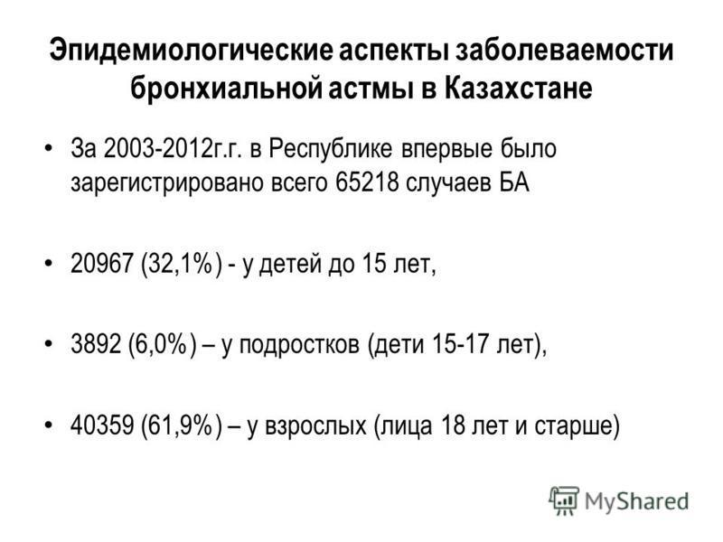 Эпидемиологические аспекты заболеваемости бронхиальной астмы в Казахстане За 2003-2012 г.г. в Респоблике впервые было зарегистрировано всего 65218 случаев БА 20967 (32,1%) - у детей до 15 лет, 3892 (6,0%) – у подростков (дети 15-17 лет), 40359 (61,9%