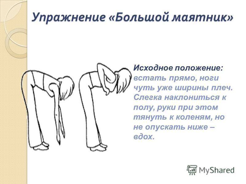 Упражнение « Большой маятник » Исходное положение: встать прямо, ноги чуть уже ширины плеч. Слегка наклониться к полу, руки при этом тянуть к коленям, но не опускать ниже – вдох.