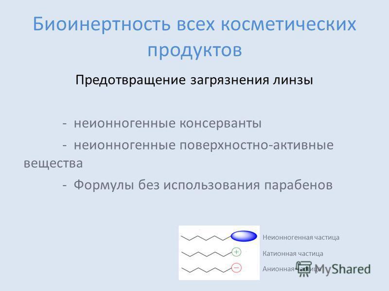 Биоинертность всех косметических продуктов Предотвращение загрязнения линзы - неионогенные консерванты - неионогенные поверхностно-активные вещества - Формулы без использования парабенов Неионногенная частица Катионная частица Aнионная частица