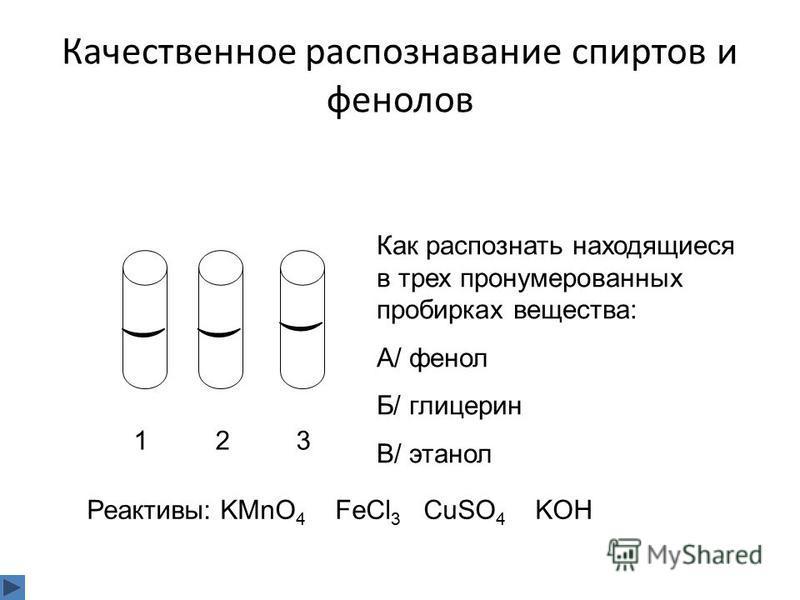 Качественное распознавание спиртов и фенолов 1 2 3 Как распознать находящиеся в трех пронумерованных пробирках вещества: А/ фенол Б/ глицерин В/ этанол Реактивы: KMnO 4 FeCl 3 CuSO 4 KOH