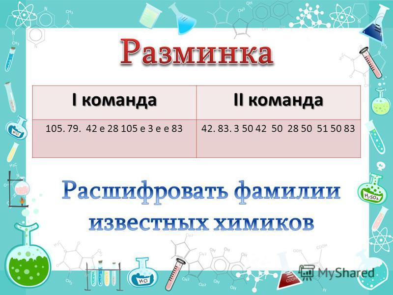 I команда II команда 105. 79. 42 е 28 105 е 3 е е 8342. 83. 3 50 42 50 28 50 51 50 83