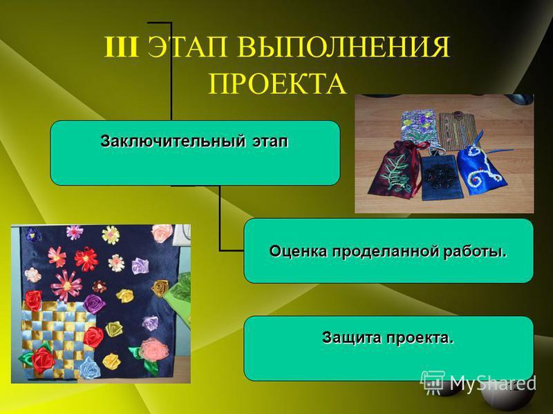 III ЭТАП ВЫПОЛНЕНИЯ ПРОЕКТА Заключительный этап Оценка проделанной работы. Защита проекта. 12