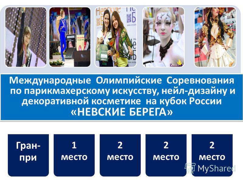 Гран- при 1 место 2 место Международные Олимпийские Соревнования по парикмахерскому искусству, нейл-дизайну и декоративной косметике на кубок России «НЕВСКИЕ БЕРЕГА» Международные Олимпийские Соревнования по парикмахерскому искусству, нейл-дизайну и
