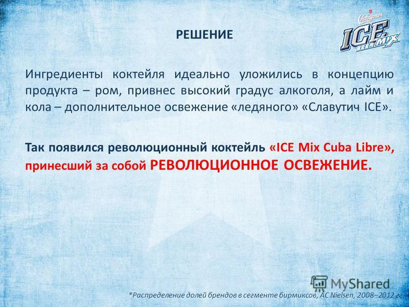 РЕШЕНИЕ Ингредиенты коктейля идеально уложились в концепцию продукта – ром, привнес высокий градус алкоголя, а лайм и кола – дополнительное освежение «ледяного» «Славутич ICE». Так появился революционный коктейль «ICE Mix Cuba Libre», принесший за со