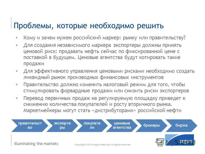illuminating the markets Кому и зачем нужен российский маркер: рынку или правительству? Для создания независимого маркера экспортеры должны принять ценовой риск: продавать нефть сейчас по фиксированной цене с поставкой в будущем. Ценовые агентства бу