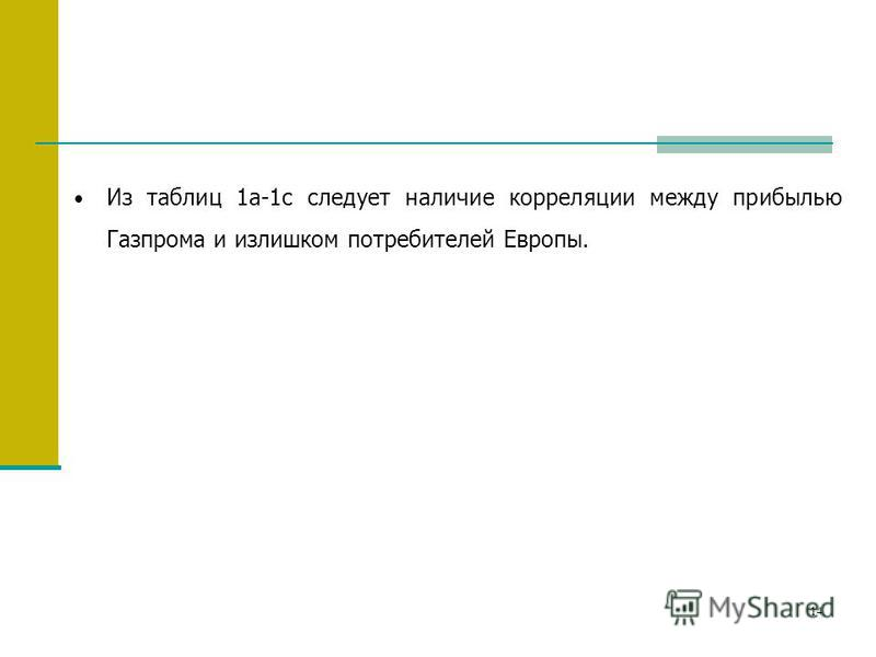 14 Из таблиц 1a-1c следует наличие корреляции между прибылью Газпрома и излишком потребителей Европы.