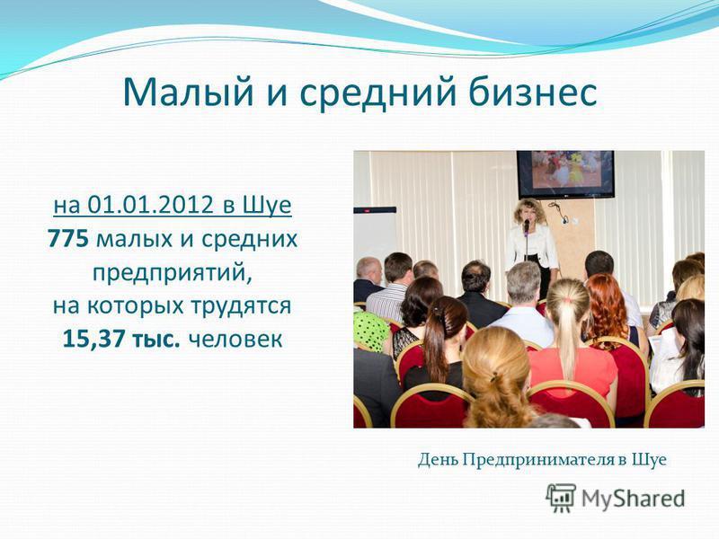 Малый и средний бизнес День Предпринимателя в Шуе на 01.01.2012 в Шуе 775 малых и средних предприятий, на которых трудятся 15,37 тыс. человек
