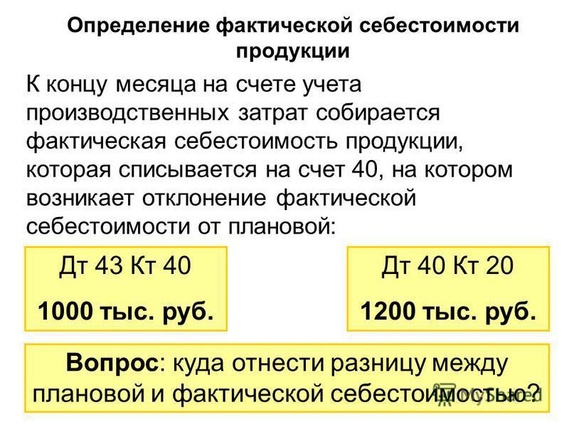 75 Определение фактической себестоимости продукции К концу месяца на счете учета производственных затрат собирается фактическая себестоимость продукции, которая списывается на счет 40, на котором возникает отклонение фактической себестоимости от план
