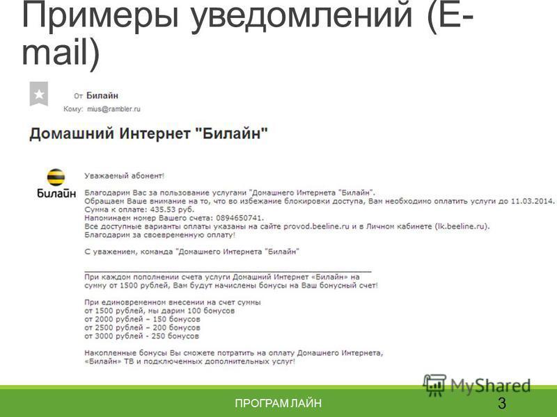 Примеры уведомлений (E- mail) 3 ПРОГРАМ ЛАЙН