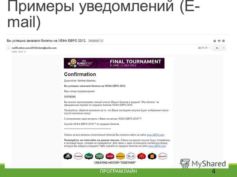 Примеры уведомлений (E- mail) 4 ПРОГРАМ ЛАЙН