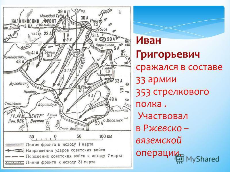 Иван Григорьевич сражался в составе 33 армии 353 стрелкового полка. Участвовал в Ржевско – вяземской операции.