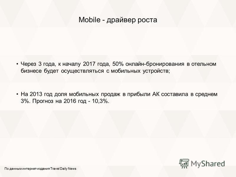 Mobile - драйвер роста Через 3 года, к началу 2017 года, 50% онлайн-бронирования в отельном бизнесе будет осуществляться с мобильных устройств; По данным интернет-издания Travel Daily News На 2013 год доля мобильных продаж в прибыли АК составила в ср