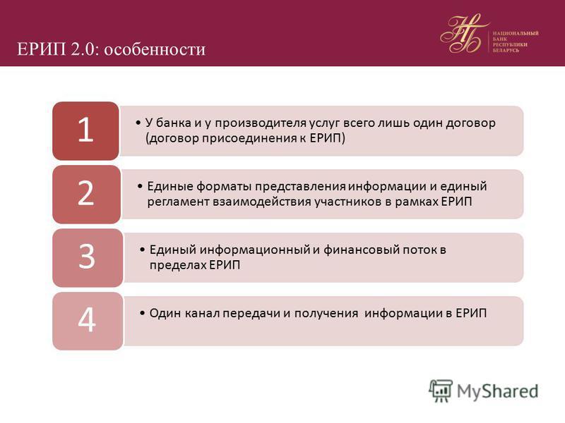 ЕРИП 2.0: особенности У банка и у производителя услуг всего лишь один договор (договор присоединения к ЕРИП) 1 Единые форматы представления информации и единый регламент взаимодействия участников в рамках ЕРИП 2 Единый информационный и финансовый пот