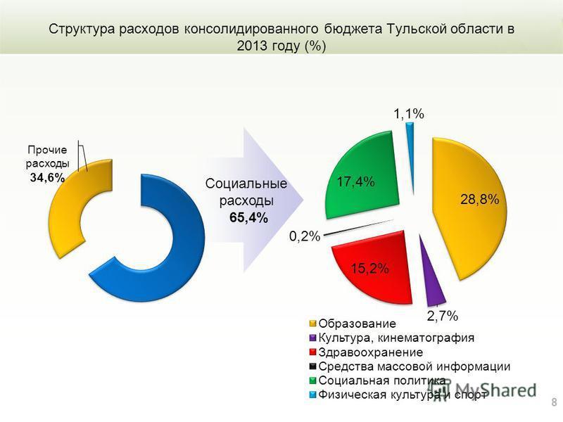 Структура расходов консолидированного бюджета Тульской области в 2013 году (%) 8 Социальные расходы 65,4%