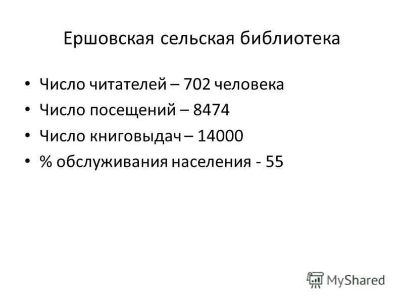Ершовская сельская библиотека Число читателей – 702 человека Число посещений – 8474 Число книговыдач – 14000 % обслуживания населения - 55