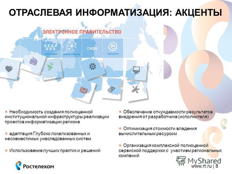 www.rt.ru | 8 ОТРАСЛЕВАЯ ИНФОРМАТИЗАЦИЯ: АКЦЕНТЫ Обеспечение отчуждаемости результатов внедрения от разработчика (исполнителя) Оптимизация стоимости владения вычислительным ресурсом Организация комплексной полноценной сервисной поддержки с участием р