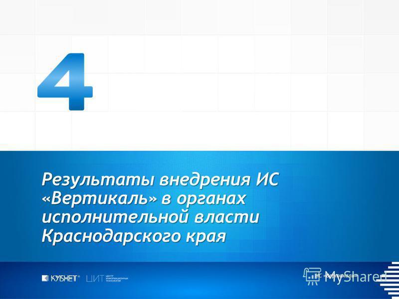 ИС «Вертикаль» Результаты внедрения ИС «Вертикаль» в органах исполнительной власти Краснодарского края