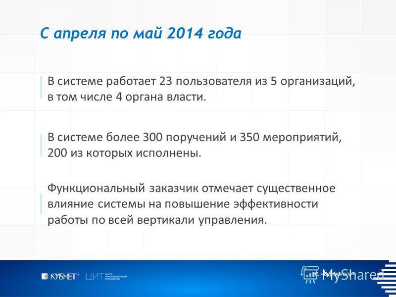 ИС «Вертикаль» С апреля по май 2014 года В системе работает 23 пользователя из 5 организаций, в том числе 4 органа власти. В системе более 300 поручений и 350 мероприятий, 200 из которых исполнены. Функциональный заказчик отмечает существенное влияни