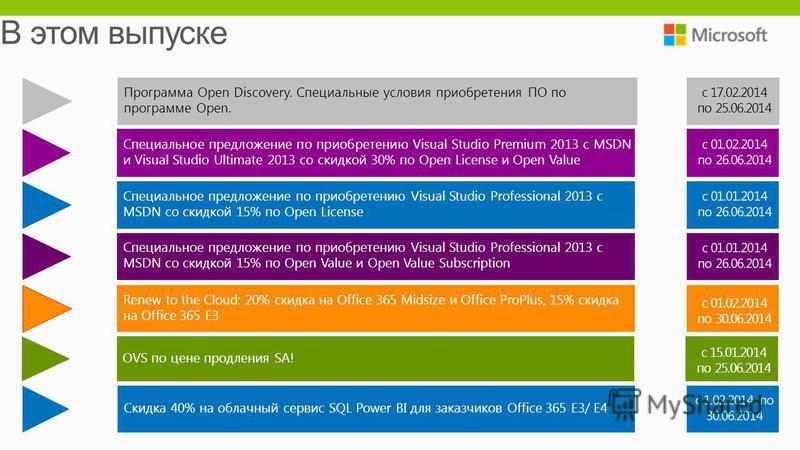 Специальное предложение по приобретению Visual Studio Premium 2013 c MSDN и Visual Studio Ultimate 2013 со скидкой 30% по Open License и Open Value Специальное предложение по приобретению Visual Studio Professional 2013 c MSDN со скидкой 15% по Open