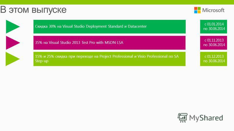 Cкидка 30% на Visual Studio Deployment Standard и Datacenter 35% на Visual Studio 2013 Test Pro with MSDN LSA 15% и 25% скидка при переходе на Project Professional и Visio Professional по SA Step-up